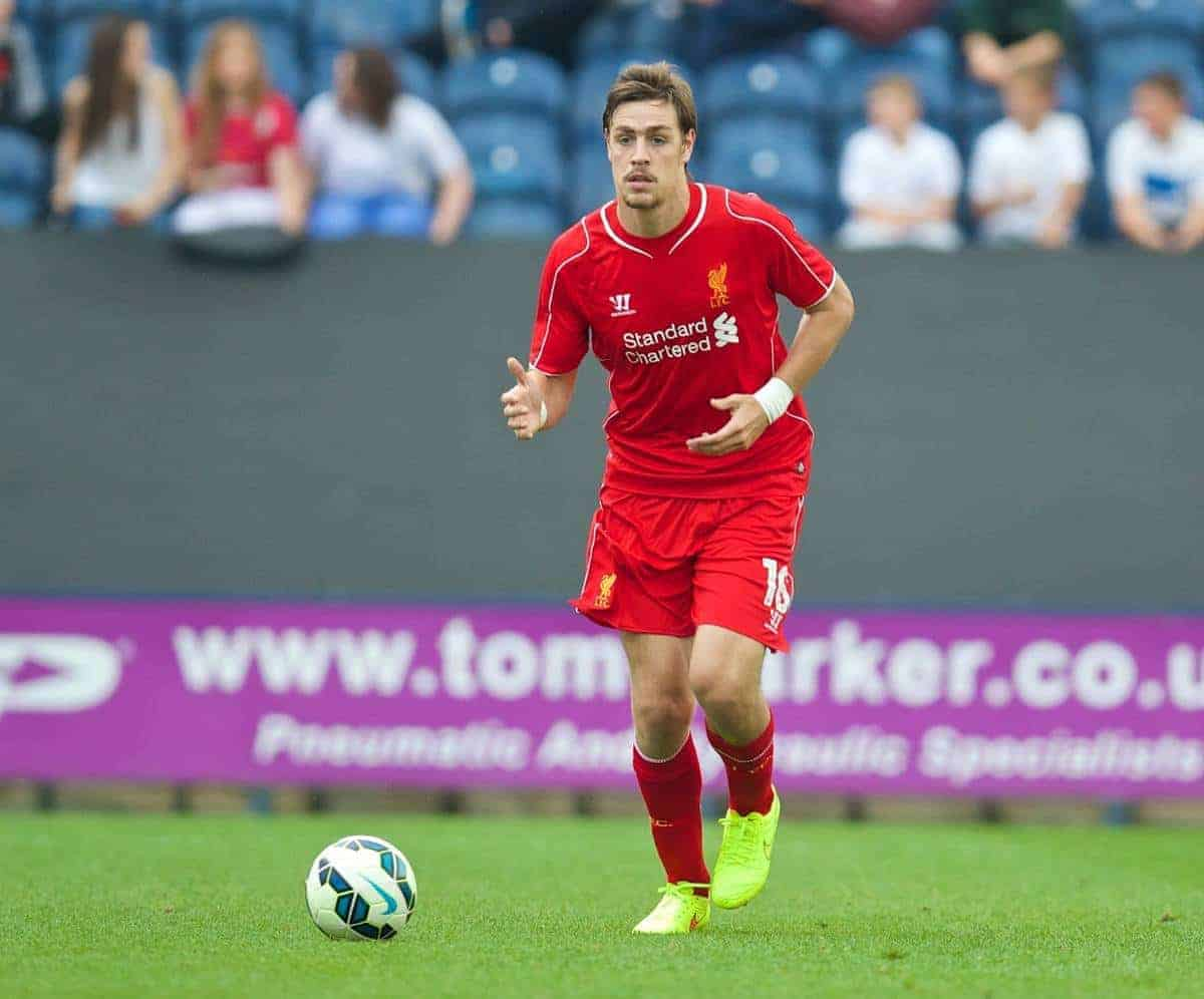 PRESTON, ENGLAND - Saturday, July 19, 2014: Liverpool's Sebastian Coates in action against Preston North End during a preseason friendly match at Deepdale Stadium. (Pic by David Rawcliffe/Propaganda)
