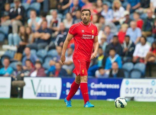 PRESTON, ENGLAND - Saturday, July 19, 2014: Liverpool's Jose Enrique in action against Preston North End during a preseason friendly match at Deepdale Stadium. (Pic by David Rawcliffe/Propaganda)