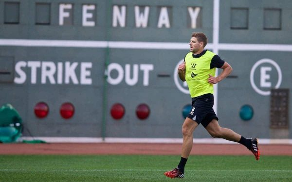 BOSTON, USA - Tuesday, July 22, 2014: Liverpool's captain Steven Gerrard during a training session at Fenway Park in Boston on two one of the club's USA Tour. (Pic by David Rawcliffe/Propaganda)
