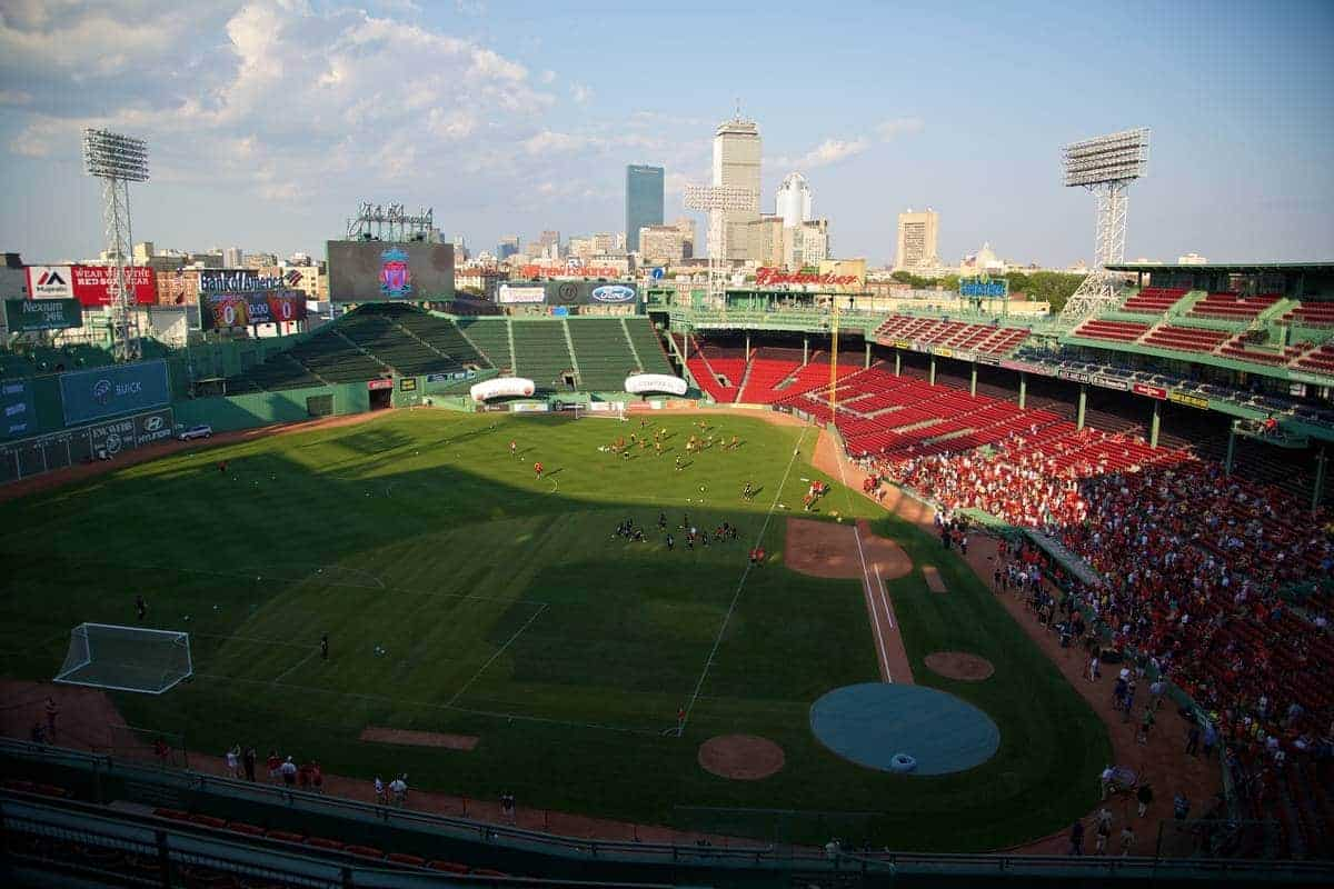 BOSTON, USA - Tuesday, July 22, 2014: Liverpool players during a training session at Fenway Park in Boston on two one of the club's USA Tour. (Pic by David Rawcliffe/Propaganda)
