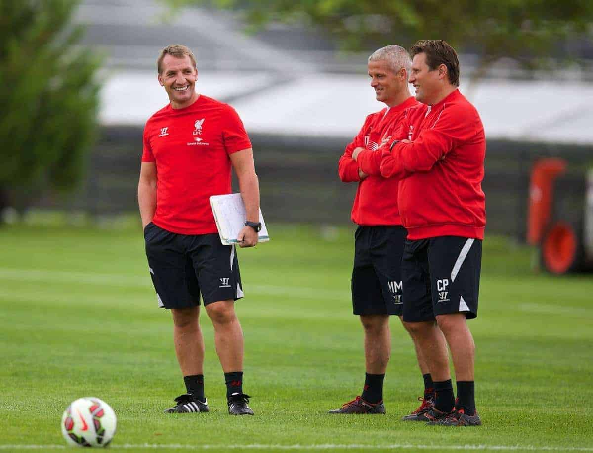 HARVARD, USA - Thursday, July 24, 2014: Liverpool's manager Brendan Rodgers with first team coach Mike Marsh and assistant manager Colin Pascoe during a preseason training session at the Harvard Stadium in Boston on day four of the club's USA Tour. (Pic by David Rawcliffe/Propaganda)
