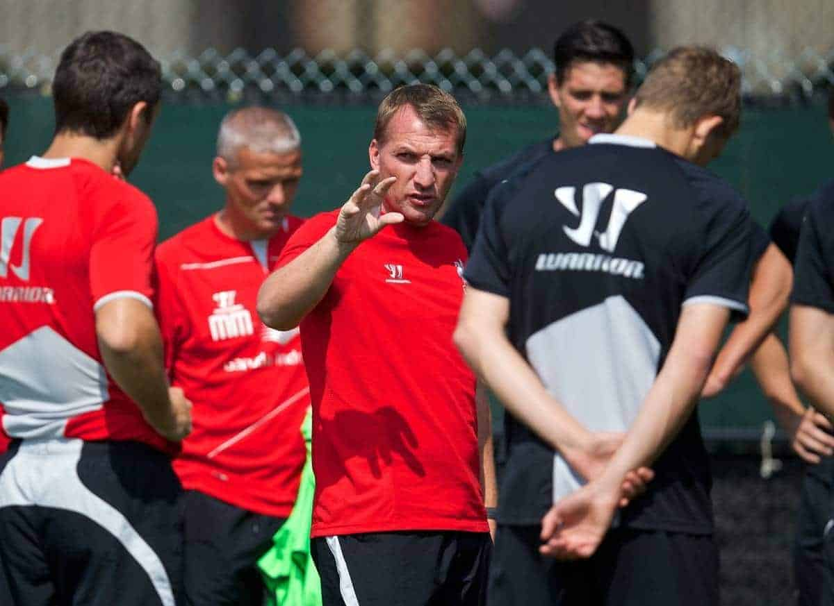 HARVARD, USA - Friday, July 25, 2014: Liverpool's manager Brendan Rodgers during a preseason training session at the Harvard Stadium in Boston on day five of the club's USA Tour. (Pic by David Rawcliffe/Propaganda)