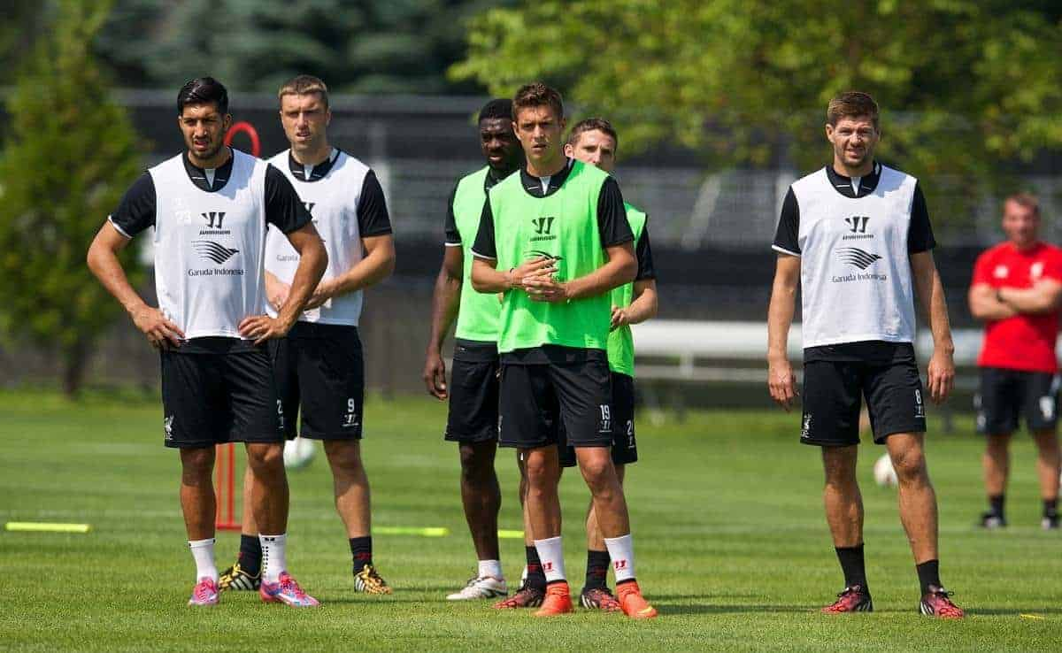 HARVARD, USA - Friday, July 25, 2014: Liverpool's Emre Can, Kristoffer Peterson and captain Steven Gerrard during a preseason training session at the Harvard Stadium in Boston on day five of the club's USA Tour. (Pic by David Rawcliffe/Propaganda)