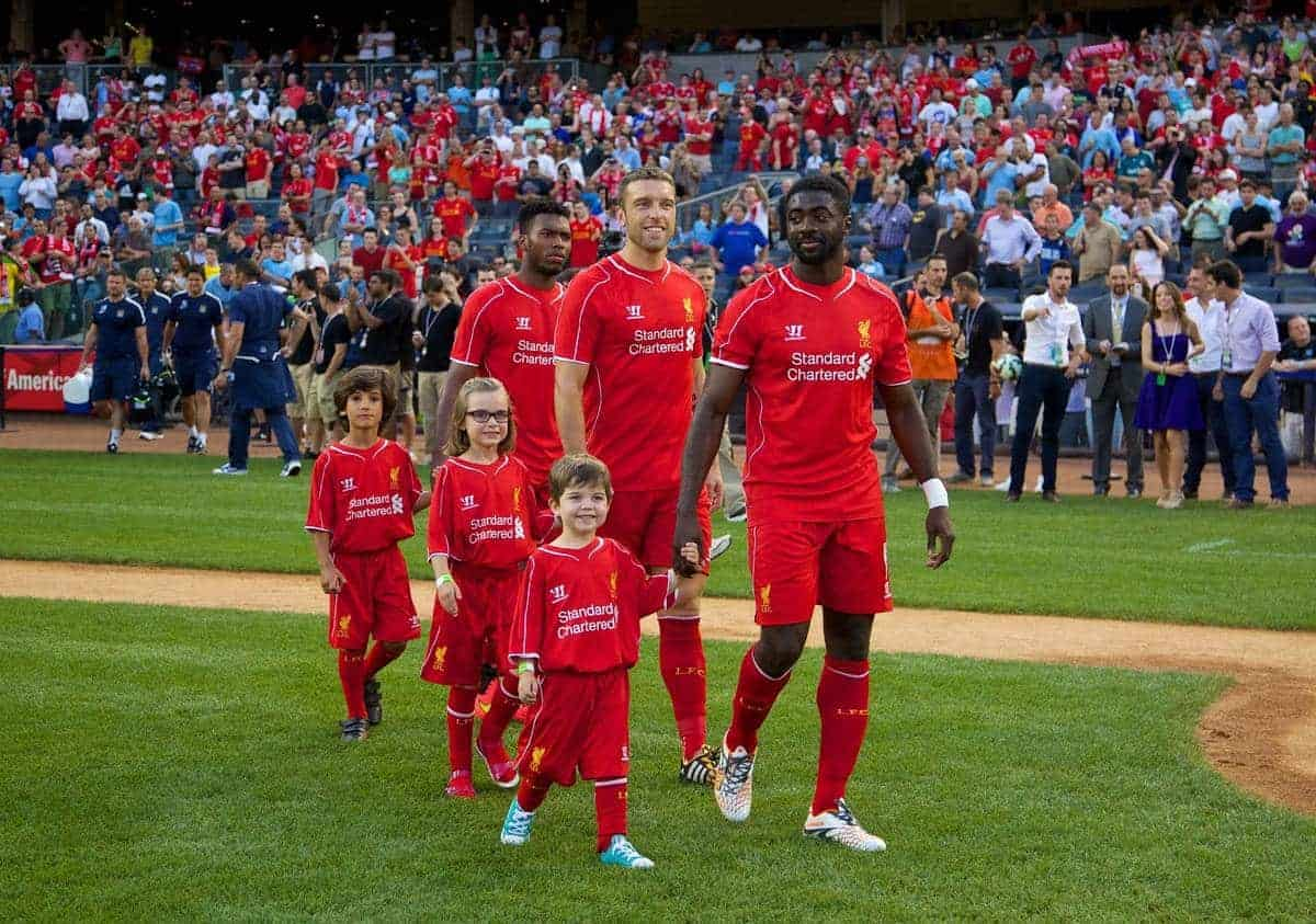NEW YORK, USA - Wednesday, July 30, 2014: Liverpool's Kolo Toure walks out to face Manchester City during the International Champions Cup Group B match at the Yankee Stadium on day ten of the club's USA Tour. (Pic by David Rawcliffe/Propaganda)