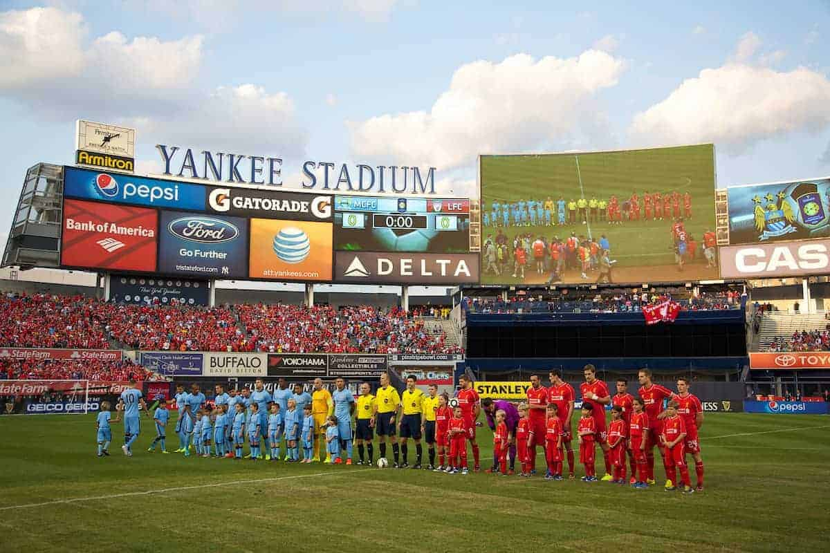 NEW YORK, USA - Wednesday, July 30, 2014: Liverpool players line-up to face Manchester City during the International Champions Cup Group B match at the Yankee Stadium on day ten of the club's USA Tour. (Pic by David Rawcliffe/Propaganda)