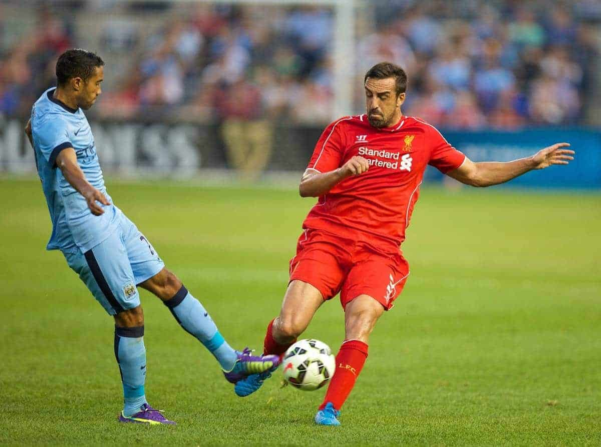 NEW YORK, USA - Wednesday, July 30, 2014: Liverpool's Jose Enrique in action against Manchester City during the International Champions Cup Group B match at the Yankee Stadium on day ten of the club's USA Tour. (Pic by David Rawcliffe/Propaganda)