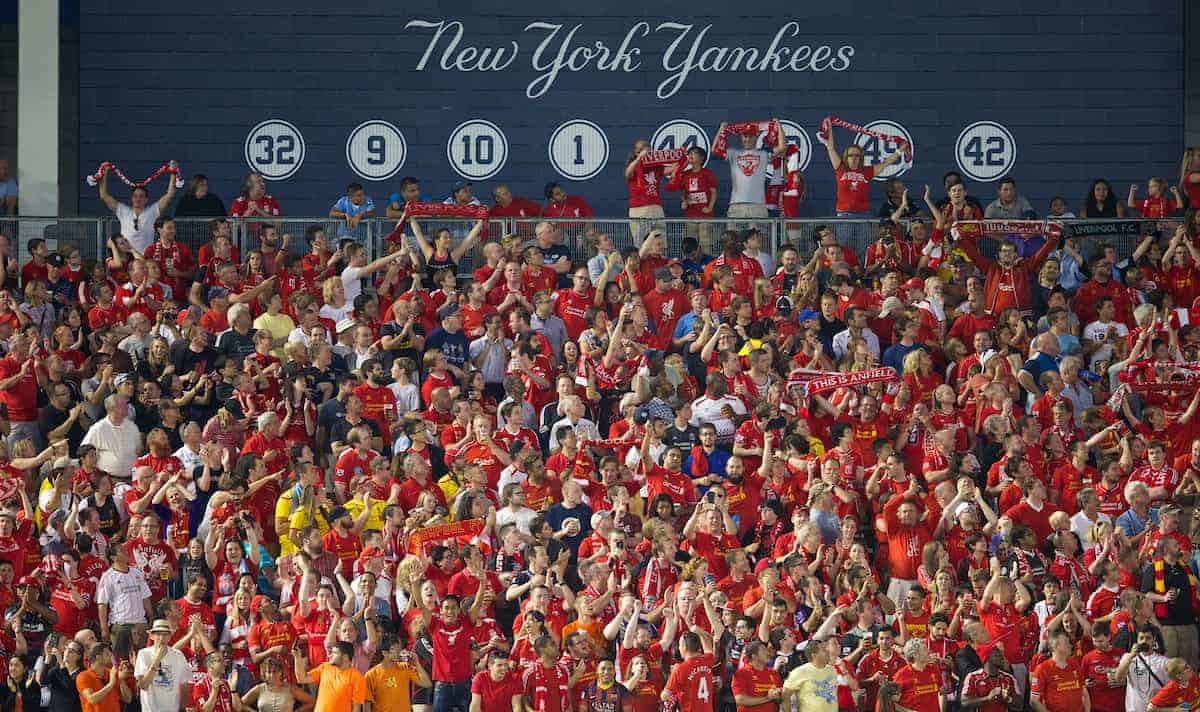 NEW YORK, USA - Wednesday, July 30, 2014: Liverpool supporters during the International Champions Cup Group B match against Manchester City at the Yankee Stadium on day ten of the club's USA Tour. (Pic by David Rawcliffe/Propaganda)