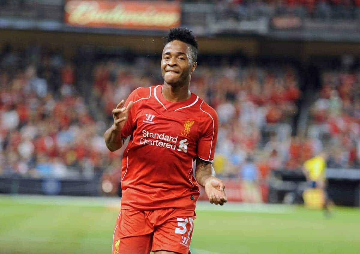NEW YORK, USA - Wednesday, July 30, 2014: Liverpool's Raheem Sterling celebrates scoring the second goal against Manchester City during the International Champions Cup Group B match at the Yankee Stadium on day ten of the club's USA Tour. (Pic by David Rawcliffe/Propaganda)