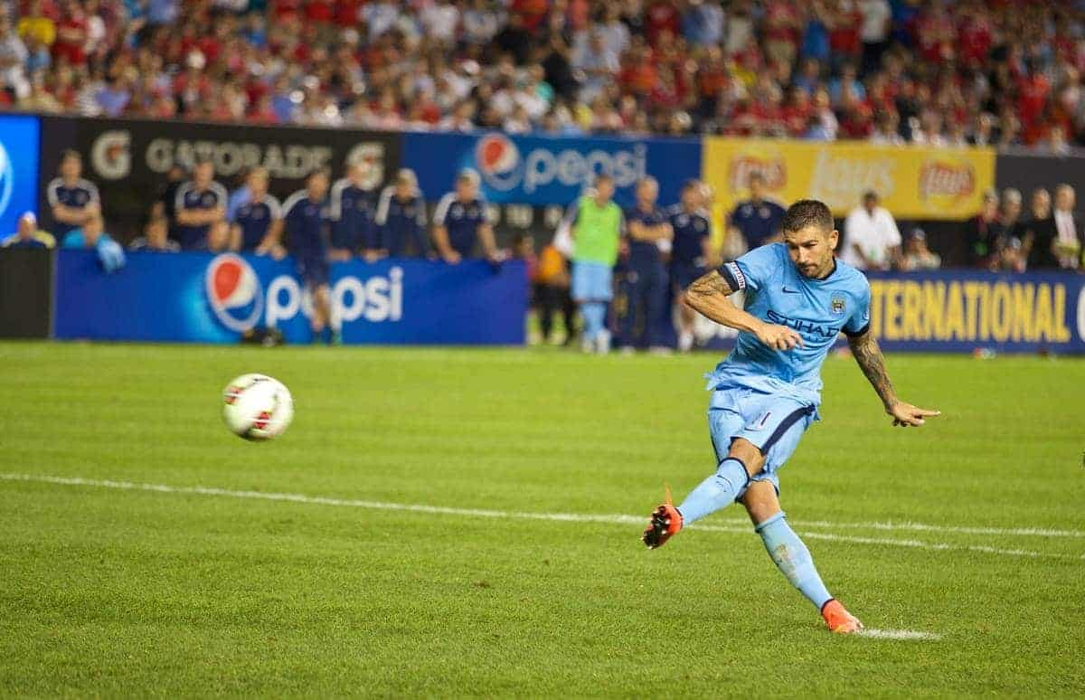 NEW YORK, USA - Wednesday, July 30, 2014: Manchester City's Aleksandar Kolarov misses the first penalty of the shoot out against Liverpool during the International Champions Cup Group B match at the Yankee Stadium on day ten of the club's USA Tour. (Pic by David Rawcliffe/Propaganda)