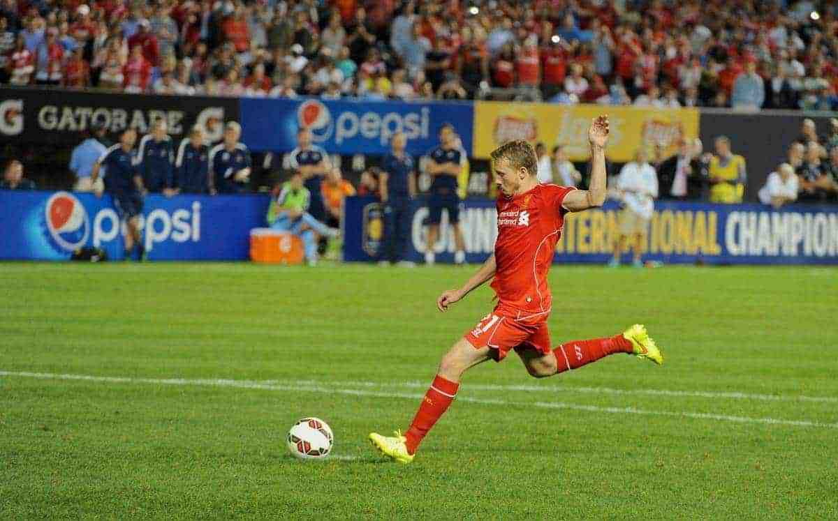 NEW YORK, USA - Wednesday, July 30, 2014: Liverpool's Lucas Leiva scores a penalty against Manchester City during the International Champions Cup Group B match at the Yankee Stadium on day ten of the club's USA Tour. (Pic by David Rawcliffe/Propaganda)