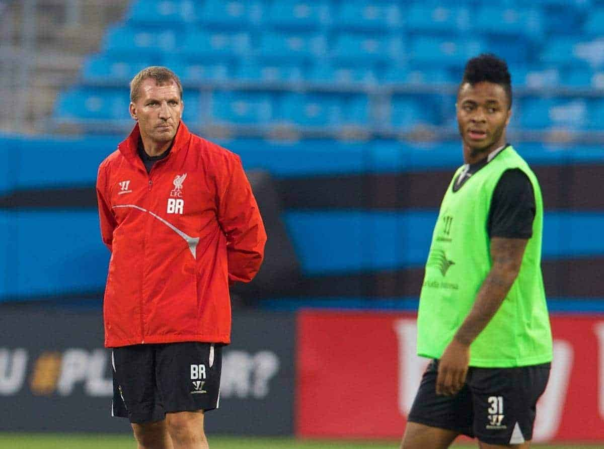 CHARLOTTE, USA - Friday, August 1, 2014: Liverpool's manager Brendan Rodgers and Raheem Sterling during a training session at the Bank of America Stadium on day twelve of the club's USA Tour. (Pic by David Rawcliffe/Propaganda)