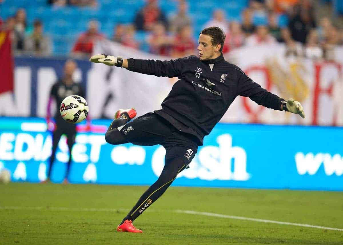 CHARLOTTE, USA - Friday, August 1, 2014: Liverpool's goalkeeper Danny Ward during a training session at the Bank of America Stadium on day twelve of the club's USA Tour. (Pic by David Rawcliffe/Propaganda)