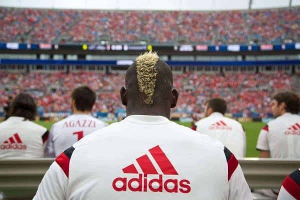 CHARLOTTE, USA - Saturday, August 2, 2014: AC Milan's Mario Balotelli before the International Champions Cup Group B match against Liverpool at the Bank of America Stadium on day thirteen of the club's USA Tour. (Pic by David Rawcliffe/Propaganda)