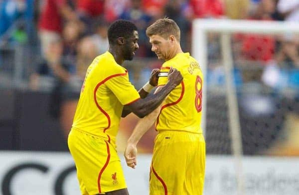 CHARLOTTE, USA - Saturday, August 2, 2014: Liverpool's Kolo Toure hands the captain's armband to Steven Gerrard against AC Milan during the International Champions Cup Group B match at the Bank of America Stadium on day thirteen of the club's USA Tour. (Pic by David Rawcliffe/Propaganda)