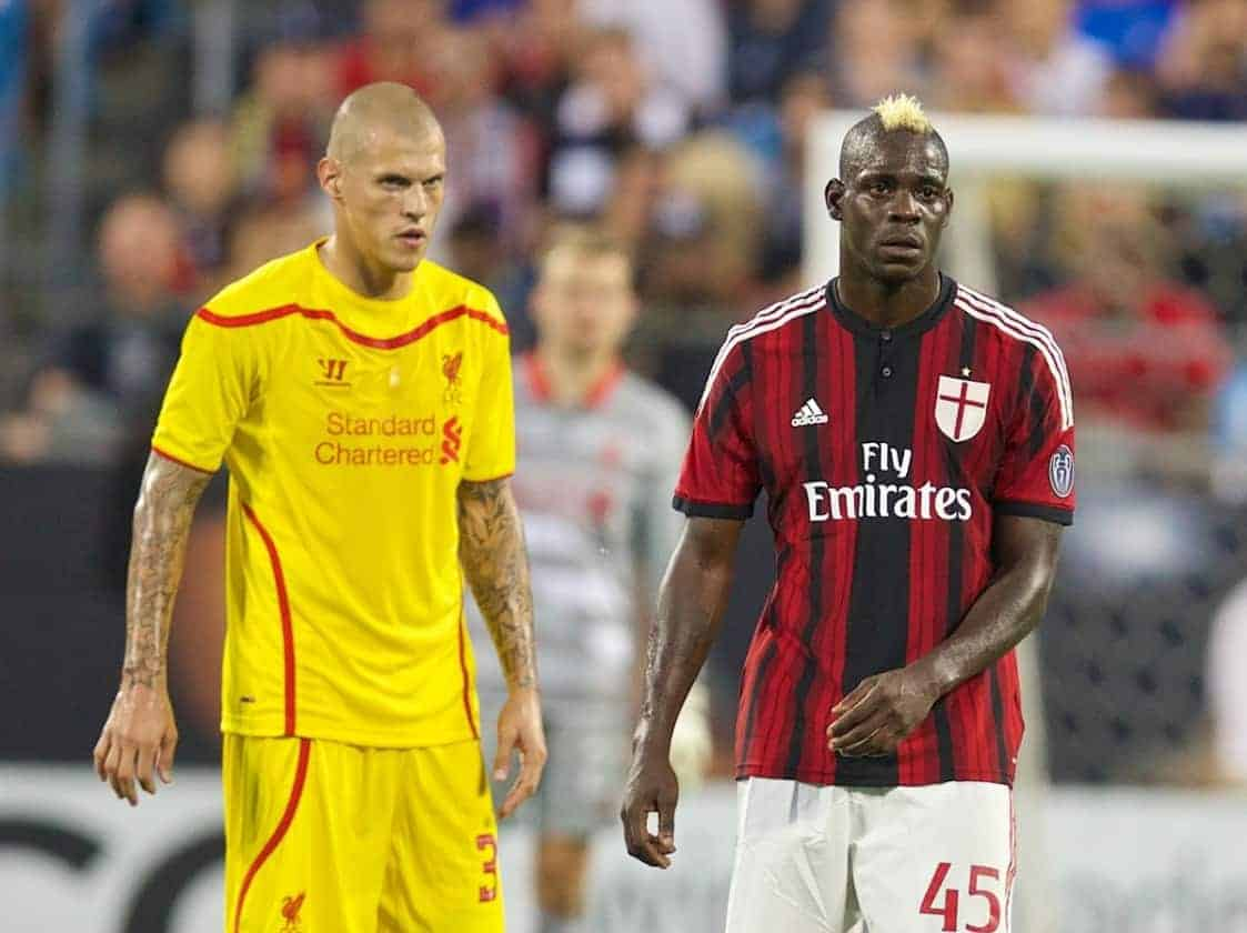 CHARLOTTE, USA - Saturday, August 2, 2014: AC Milan's Mario Balotelli and Liverpool's Martin Skrtel during the International Champions Cup Group B match at the Bank of America Stadium on day thirteen of the club's USA Tour. (Pic by David Rawcliffe/Propaganda)
