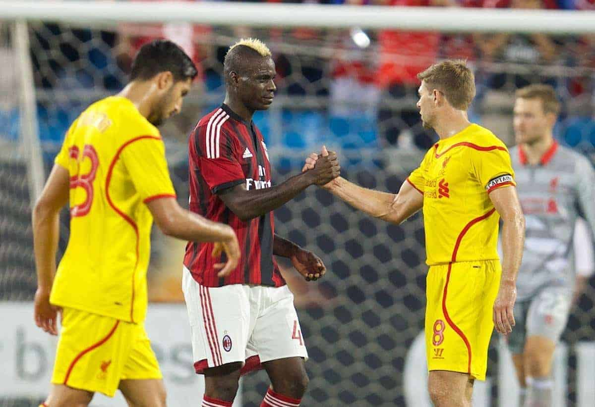 CHARLOTTE, USA - Saturday, August 2, 2014: AC Milan's Mario Balotelli and Liverpool's captain Steven Gerrard during the International Champions Cup Group B match at the Bank of America Stadium on day thirteen of the club's USA Tour. (Pic by David Rawcliffe/Propaganda)