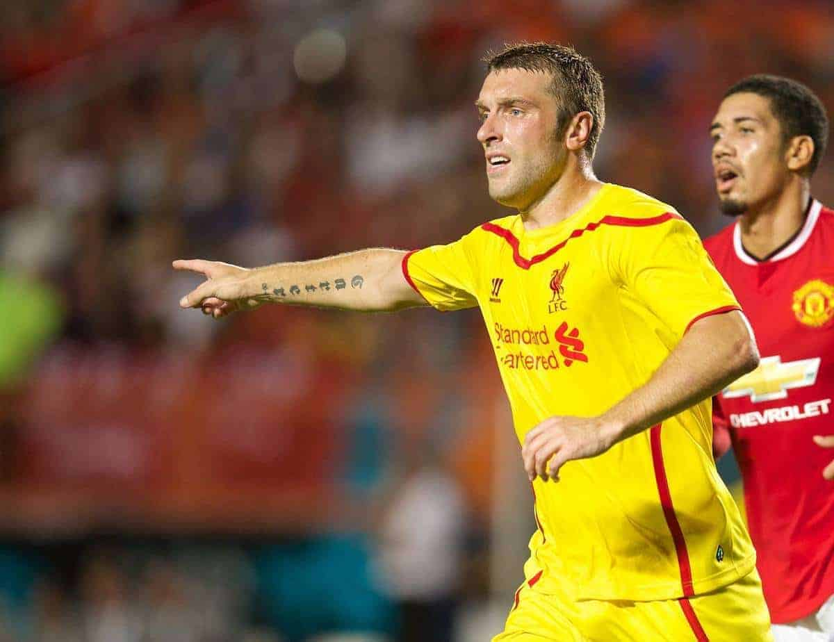 MIAMI, USA - Monday, August 4, 2014: Liverpool's Rickie Lambert in action against Manchester United during the International Champions Cup Final match at the SunLife Stadium on day fifteen of the club's USA Tour. (Pic by David Rawcliffe/Propaganda)