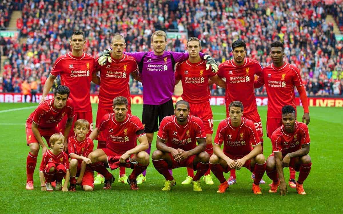 LIVERPOOL, ENGLAND - Sunday, August 10, 2014: Liverpool's players line up for a team group photograph before a preseason friendly match against Borussia Dortmund at Anfield. Back row L-R: Dejan Lovren, Martin Skrtel, goalkeeper Simon Mignolet, Jordan Henderson, Emre Can, Daniel Sturridge. Front row L-R: Philippe Coutinho Correia, captain Steven Gerrard, Glen Johnson, Javier Manquillo, Raheem Sterling. (Pic by David Rawcliffe/Propaganda)