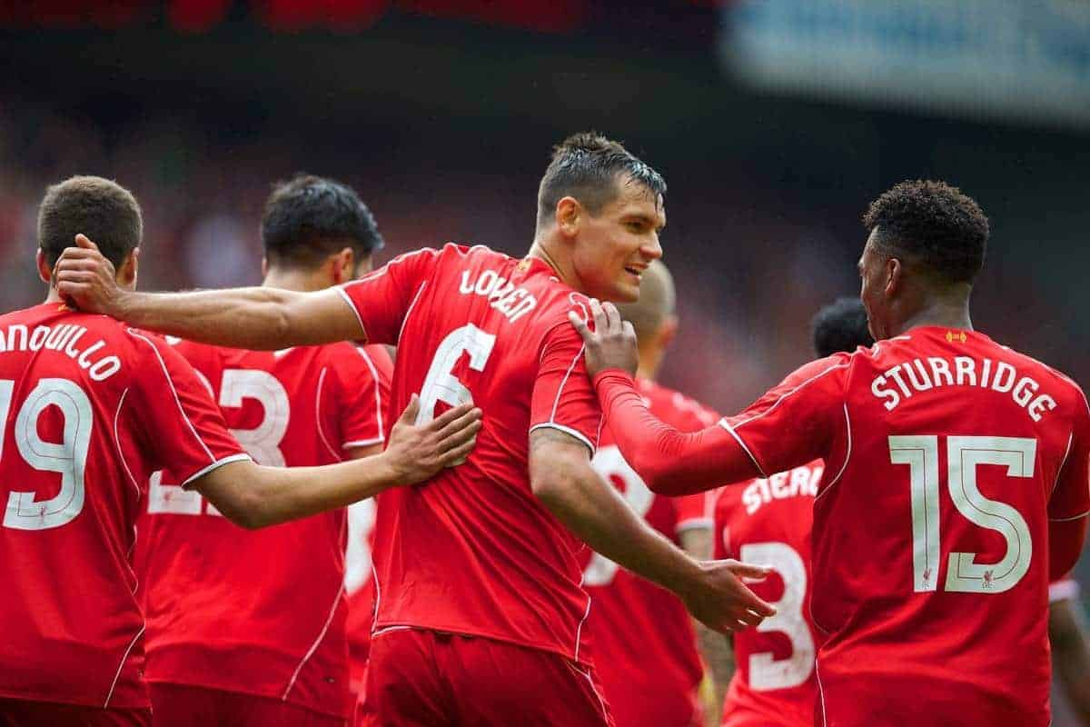 LIVERPOOL, ENGLAND - Sunday, August 10, 2014: Liverpool's Dejan Lovren celebrates scoring the second goal against Borussia Dortmund during a preseason friendly match at Anfield. (Pic by David Rawcliffe/Propaganda)