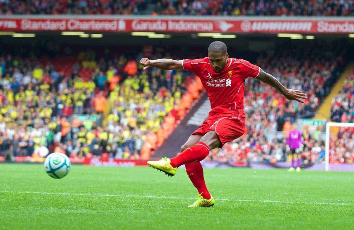LIVERPOOL, ENGLAND - Sunday, August 10, 2014: Liverpool's Glen Johnson in action against Borussia Dortmund during a preseason friendly match at Anfield. (Pic by David Rawcliffe/Propaganda)