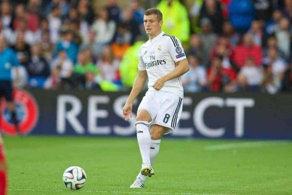 CARDIFF, WALES - Tuesday, August 12, 2014: Real Madrid's Toni Kroos in action against Sevilla during the UEFA Super Cup at the Cardiff City Stadium. (Pic by David Rawcliffe/Propaganda)