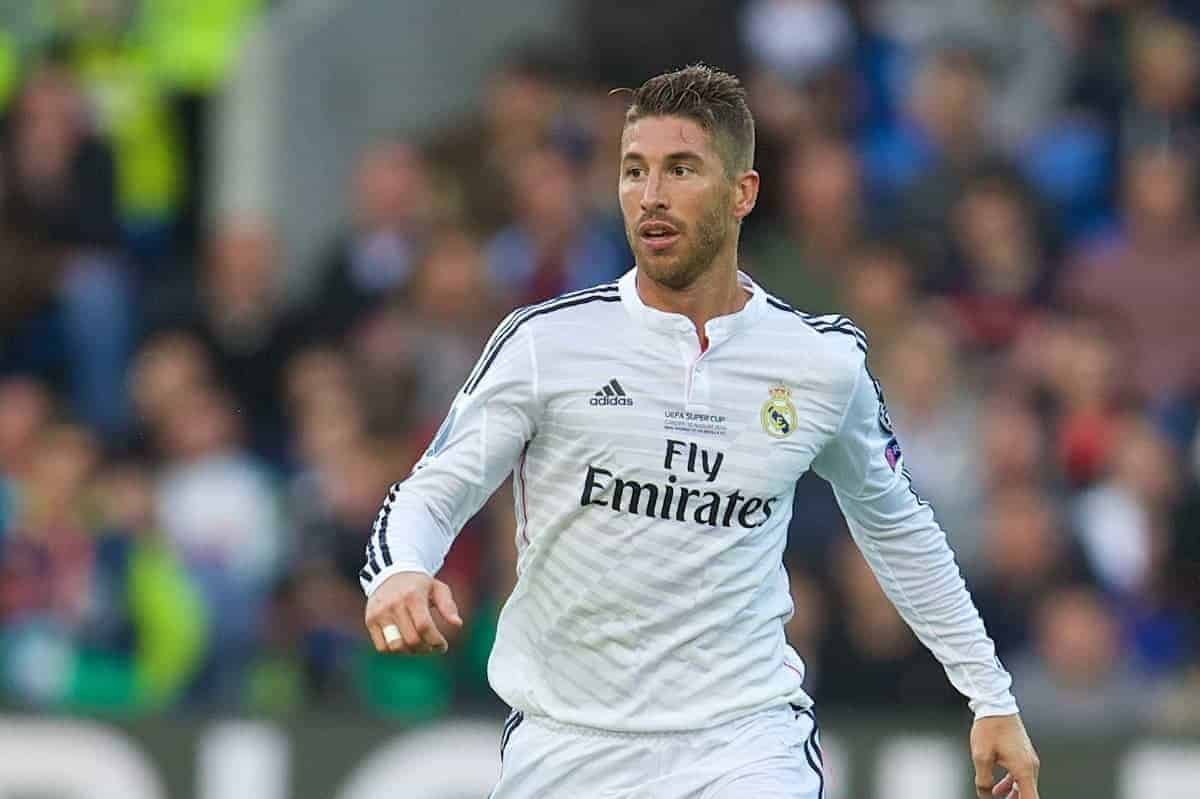CARDIFF, WALES - Tuesday, August 12, 2014: Real Madrid's Sergio Ramos in action against Sevilla during the UEFA Super Cup at the Cardiff City Stadium. (Pic by David Rawcliffe/Propaganda)