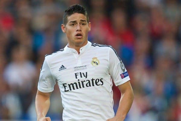 CARDIFF, WALES - Tuesday, August 12, 2014: Real Madrid's James Rodriguez in action against Sevilla during the UEFA Super Cup at the Cardiff City Stadium. (Pic by David Rawcliffe/Propaganda)