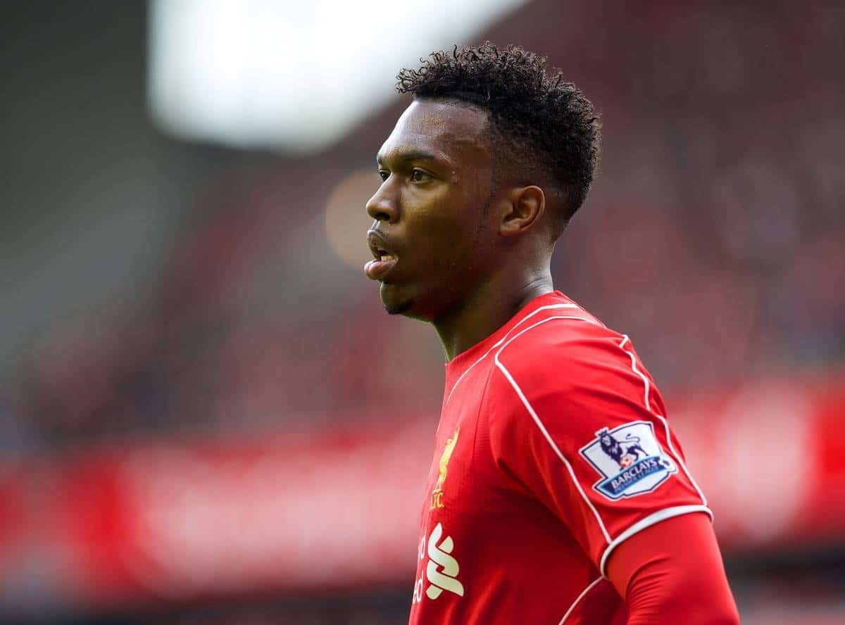 LIVERPOOL, ENGLAND - Sunday, August 17, 2014: Liverpool's Daniel Sturridge in action against Southampton during the Premier League match at Anfield. (Pic by David Rawcliffe/Propaganda)