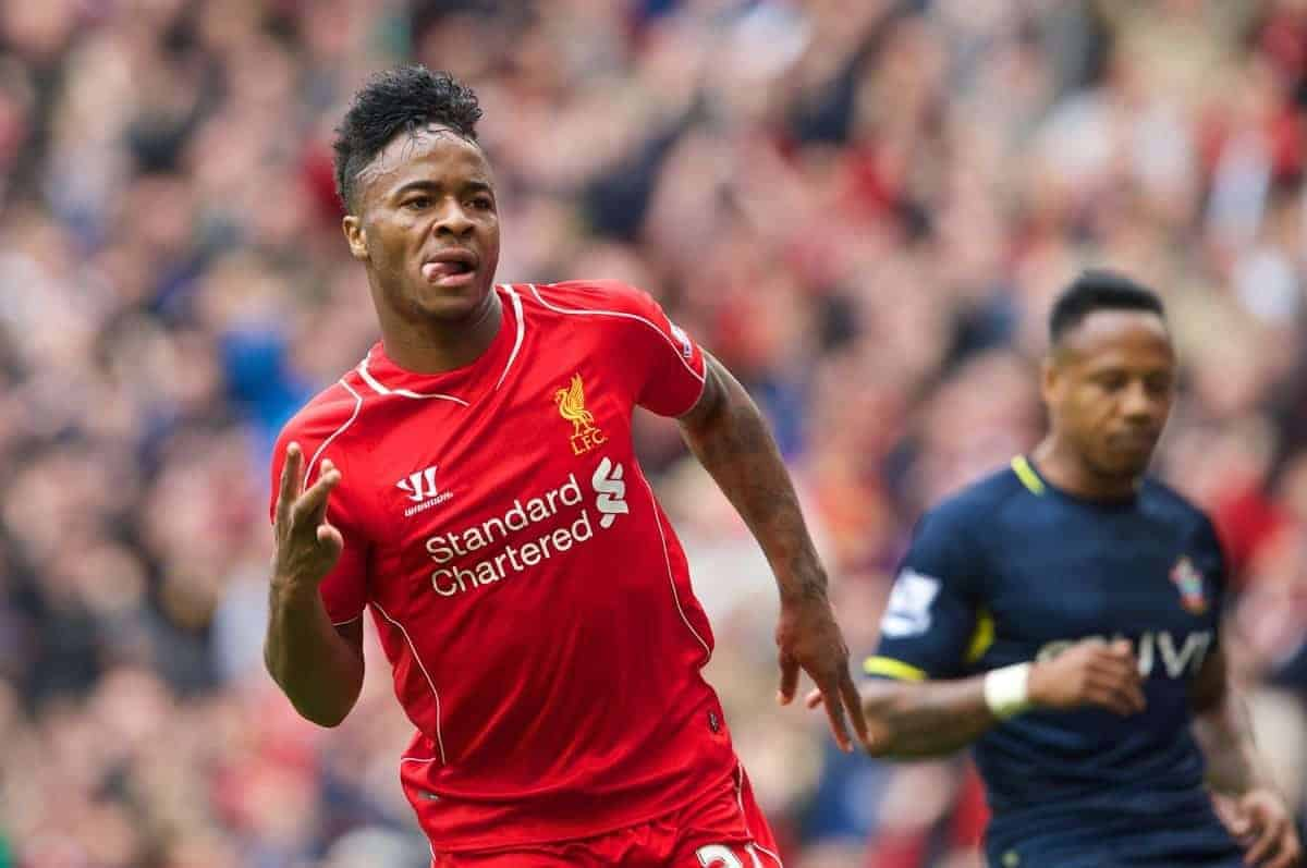 LIVERPOOL, ENGLAND - Sunday, August 17, 2014: Liverpool's Raheem Sterling celebrates scoring the first goal against Southampton during the Premier League match at Anfield. (Pic by David Rawcliffe/Propaganda)