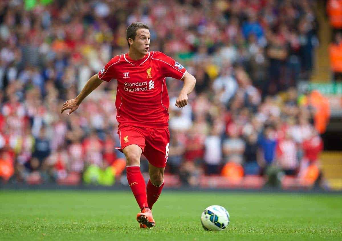 LIVERPOOL, ENGLAND - Sunday, August 17, 2014: Liverpool's Javier Manquillo in action against Southampton during the Premier League match at Anfield. (Pic by David Rawcliffe/Propaganda)