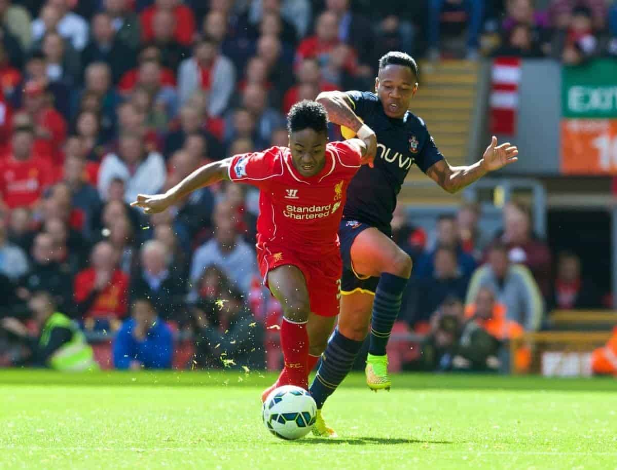 LIVERPOOL, ENGLAND - Sunday, August 17, 2014: Liverpool's Raheem Sterling in action against Southampton's Nathaniel Clyne during the Premier League match at Anfield. (Pic by David Rawcliffe/Propaganda)
