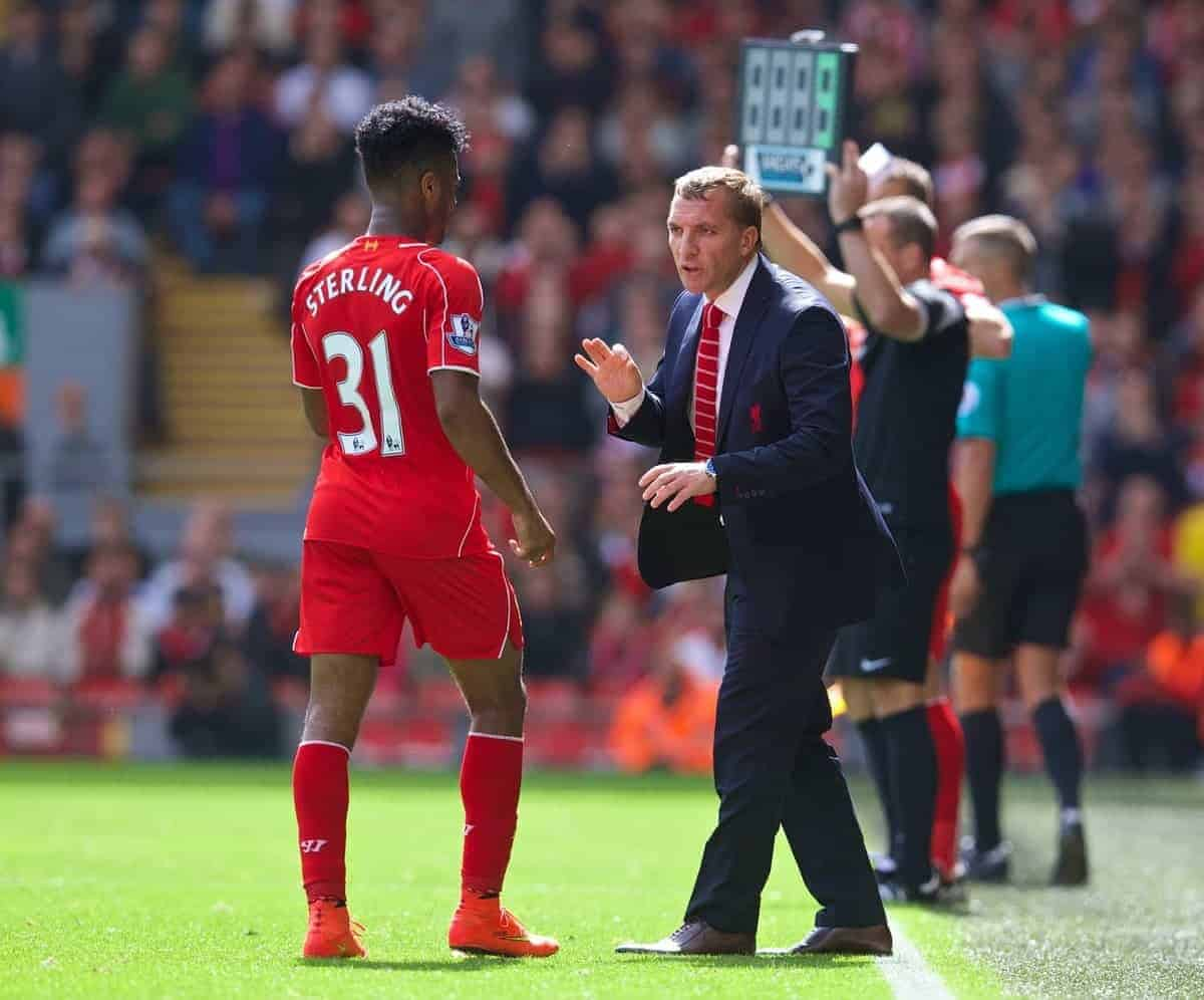 LIVERPOOL, ENGLAND - Sunday, August 17, 2014: Liverpool's manager Brendan Rodgers gives instructions to Raheem Sterling during the Premier League match against Southampton at Anfield. (Pic by David Rawcliffe/Propaganda)