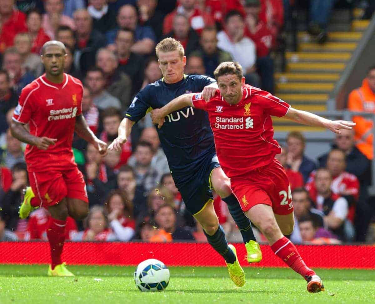 LIVERPOOL, ENGLAND - Sunday, August 17, 2014: Liverpool's Joe Allen in action against Southampton during the Premier League match at Anfield. (Pic by David Rawcliffe/Propaganda)