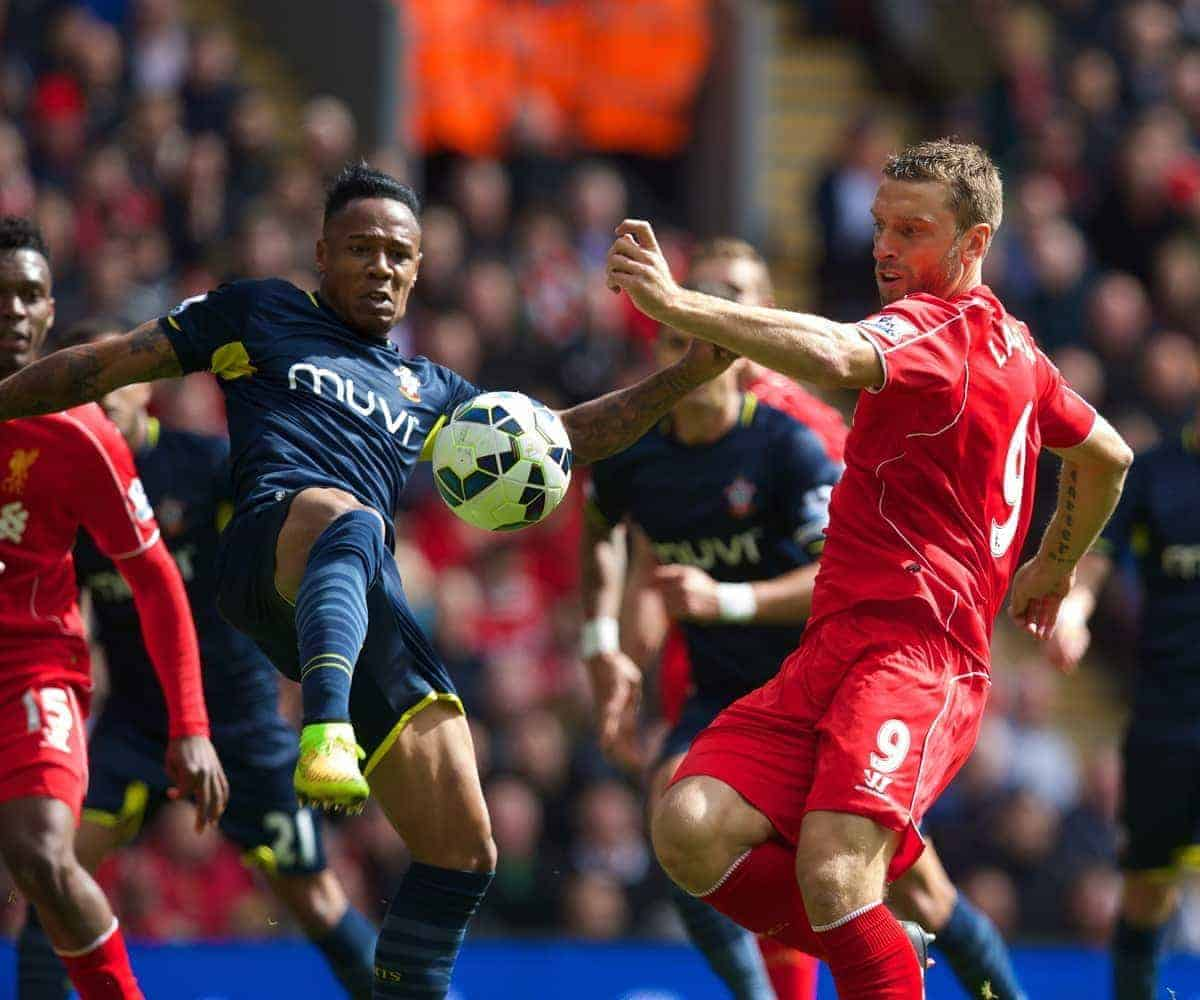 LIVERPOOL, ENGLAND - Sunday, August 17, 2014: Liverpool's Rickie Lambert in action against Southampton's Nathaniel Clyne during the Premier League match at Anfield. (Pic by David Rawcliffe/Propaganda)