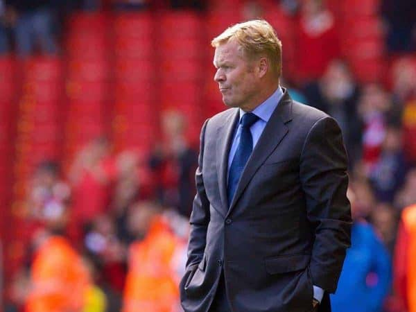 LIVERPOOL, ENGLAND - Sunday, August 17, 2014: Southampton's manager Ronald Koeman during the Premier League match against Liverpool at Anfield. (Pic by David Rawcliffe/Propaganda)