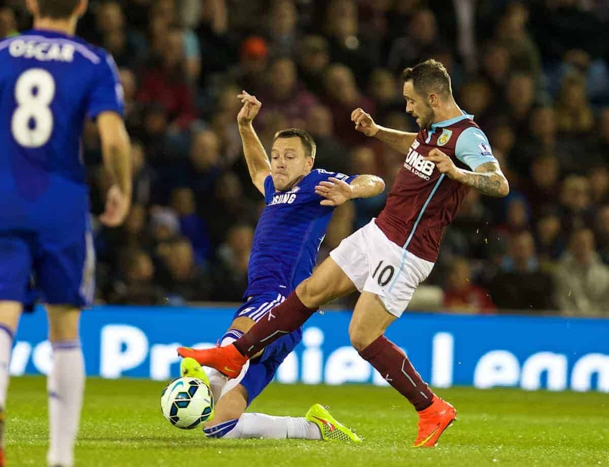 BURNLEY, ENGLAND - Monday, August 18, 2014: Chelsea's captain John Terry in action against Burnley's Danny Ings during the Premier League match at Turf Moor. (Pic by David Rawcliffe/Propaganda)