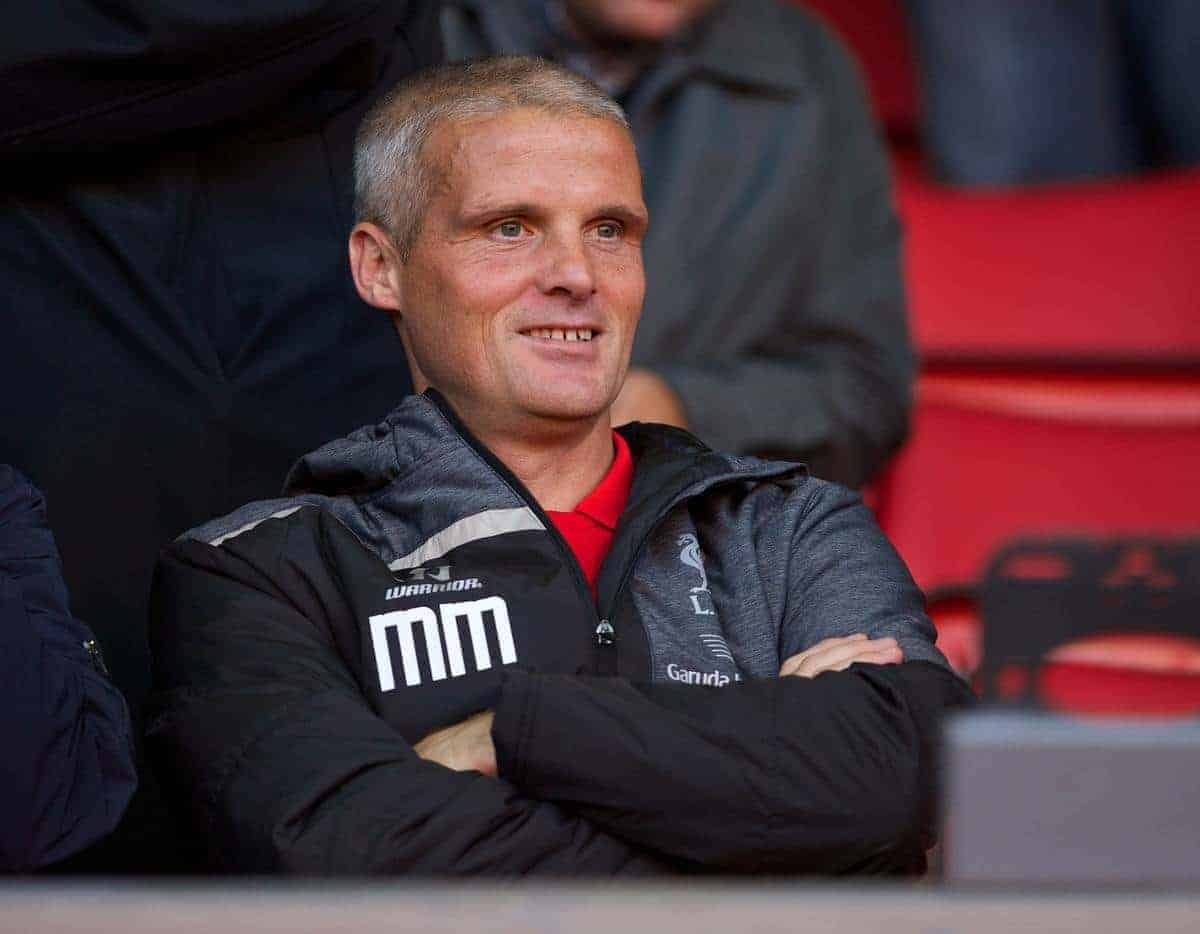 ANFIELD, ENGLAND - Friday, August 22, 2014: Liverpool's first team coach Mike Marsh before the Under 21 FA Premier League match against Manchester United at Anfield. (Pic by David Rawcliffe/Propaganda)