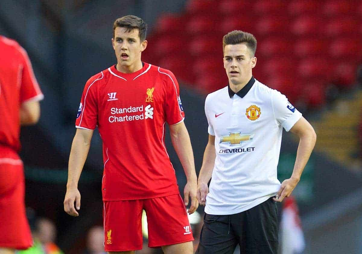 ANFIELD, ENGLAND - Friday, August 22, 2014: Welsh players Liverpool's Jordan Williams and Manchester United's Tom Lawrence during the Under 21 FA Premier League match at Anfield. (Pic by David Rawcliffe/Propaganda)