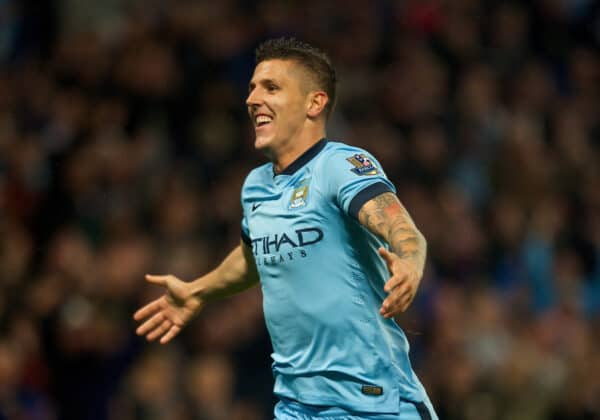 Manchester City's Stevan Jovetic celebrates scoring the second goal against Liverpool during the Premier League match at the City of Manchester Stadium. (Pic by Chris Brunskill/Propaganda)
