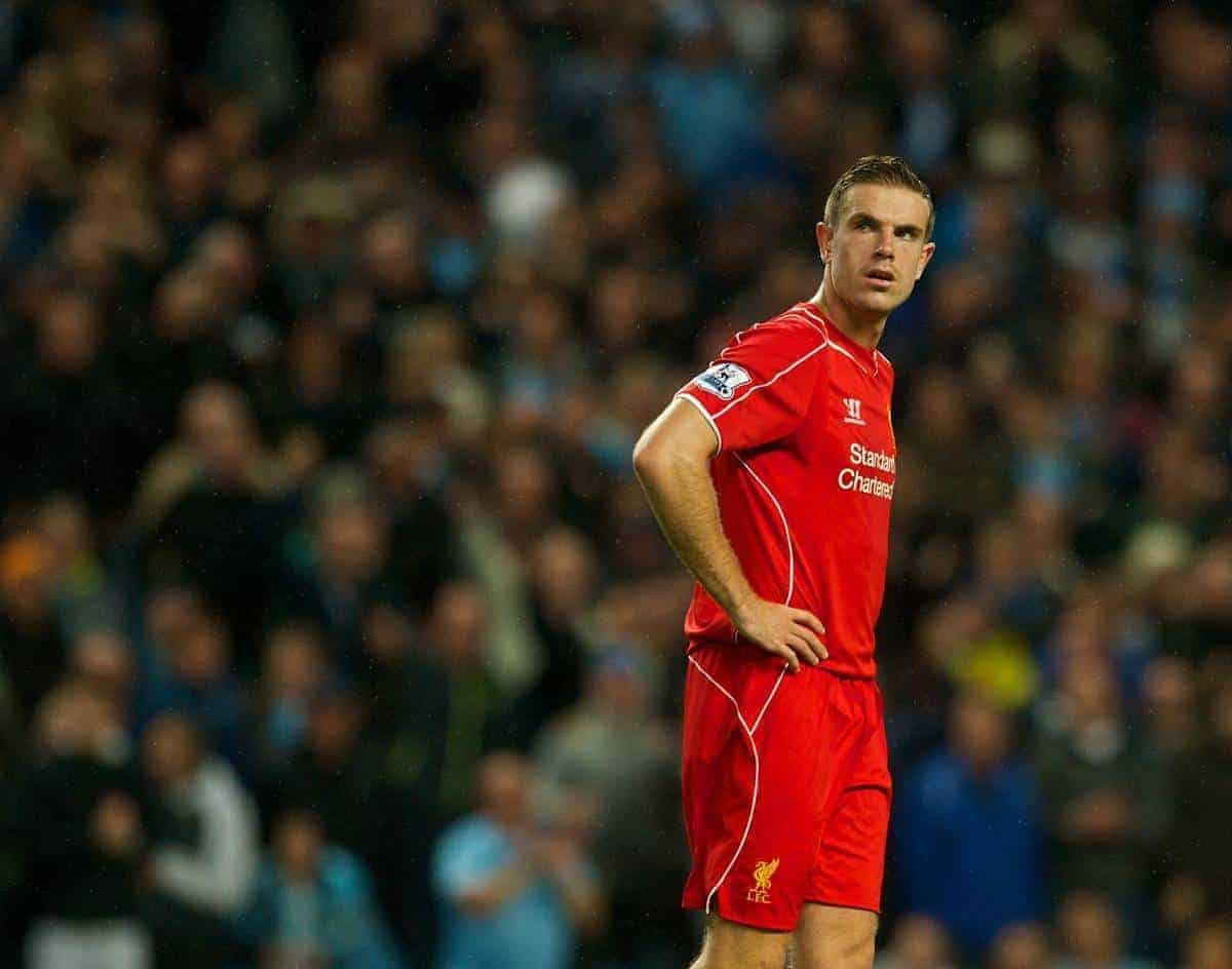 MANCHESTER, ENGLAND - Monday, August 25, 2014: Liverpool's Jordan Henderson looks dejected as Manchester City score the third goal during the Premier League match at the City of Manchester Stadium. (Pic by Chris Brunskill/Propaganda)