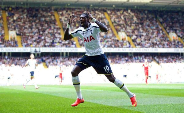 LONDON, ENGLAND - Sunday, August 31, 2014: Tottenham Hotspur's Emmanuel Adebayor rues a missed chance against Liverpool during the Premier League match at White Hart Lane. (Pic by David Rawcliffe/Propaganda)