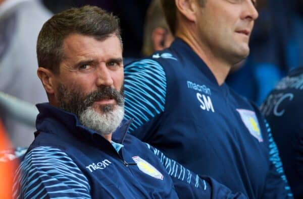 LIVERPOOL, ENGLAND - Saturday, September 13, 2014: Aston Villa's assistant coach Roy Keane on the bench before the Premier League match against Liverpool at Anfield. (Pic by David Rawcliffe/Propaganda)