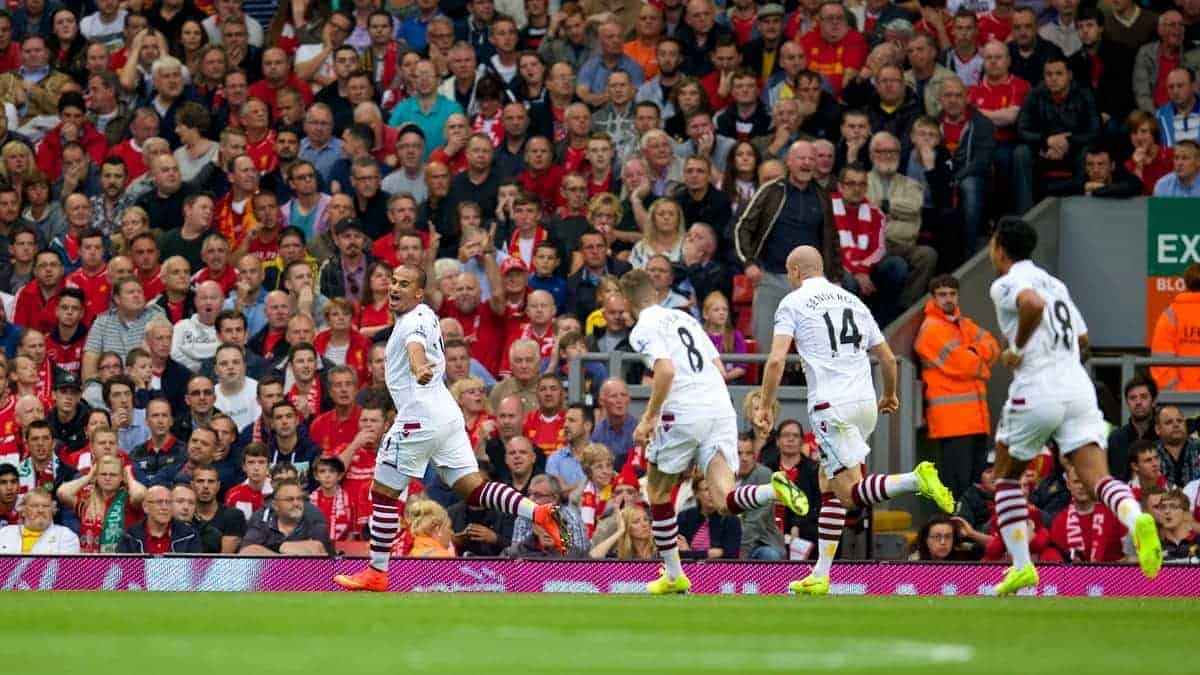 LIVERPOOL, ENGLAND - Saturday, September 13, 2014: Aston Villa's Gabriel Agbonlahor scores the winning goal against Liverpool during the Premier League match at Anfield. (Pic by David Rawcliffe/Propaganda)