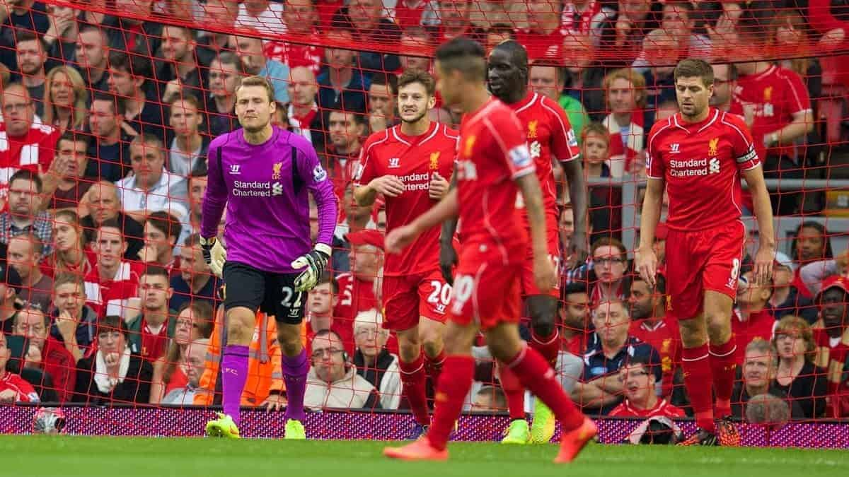 LIVERPOOL, ENGLAND - Saturday, September 13, 2014: Liverpool's goalkeeper Simon Mignolet looks dejected as Aston Villa score the only goal of the game during the Premier League match at Anfield. (Pic by David Rawcliffe/Propaganda)