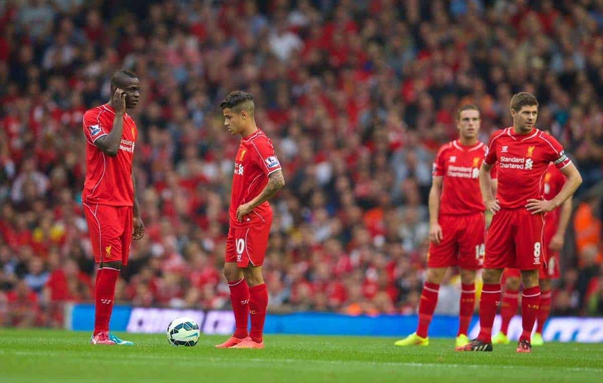 LIVERPOOL, ENGLAND - Saturday, September 13, 2014: Liverpool's Mario Balotelli looks dejected as Aston Villa score the only goal of the game during the Premier League match at Anfield. (Pic by David Rawcliffe/Propaganda)