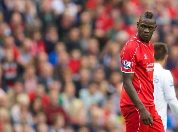 LIVERPOOL, ENGLAND - Saturday, September 13, 2014: Liverpool's Mario Balotelli in action against Aston Villa during the Premier League match at Anfield. (Pic by David Rawcliffe/Propaganda)