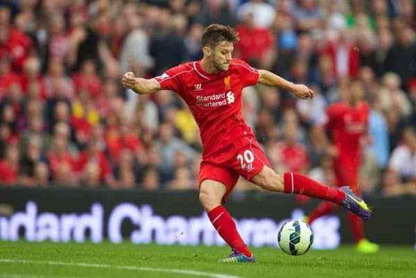 LIVERPOOL, ENGLAND - Saturday, September 13, 2014: Liverpool's Adam Lallana in action against Aston Villa during the Premier League match at Anfield. (Pic by David Rawcliffe/Propaganda)