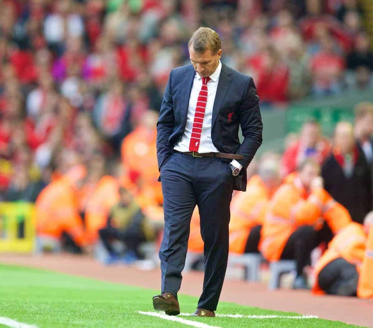 LIVERPOOL, ENGLAND - Saturday, September 13, 2014: Liverpool's manager Brendan Rodgers looks dejected against Aston Villa during the Premier League match at Anfield. (Pic by David Rawcliffe/Propaganda)