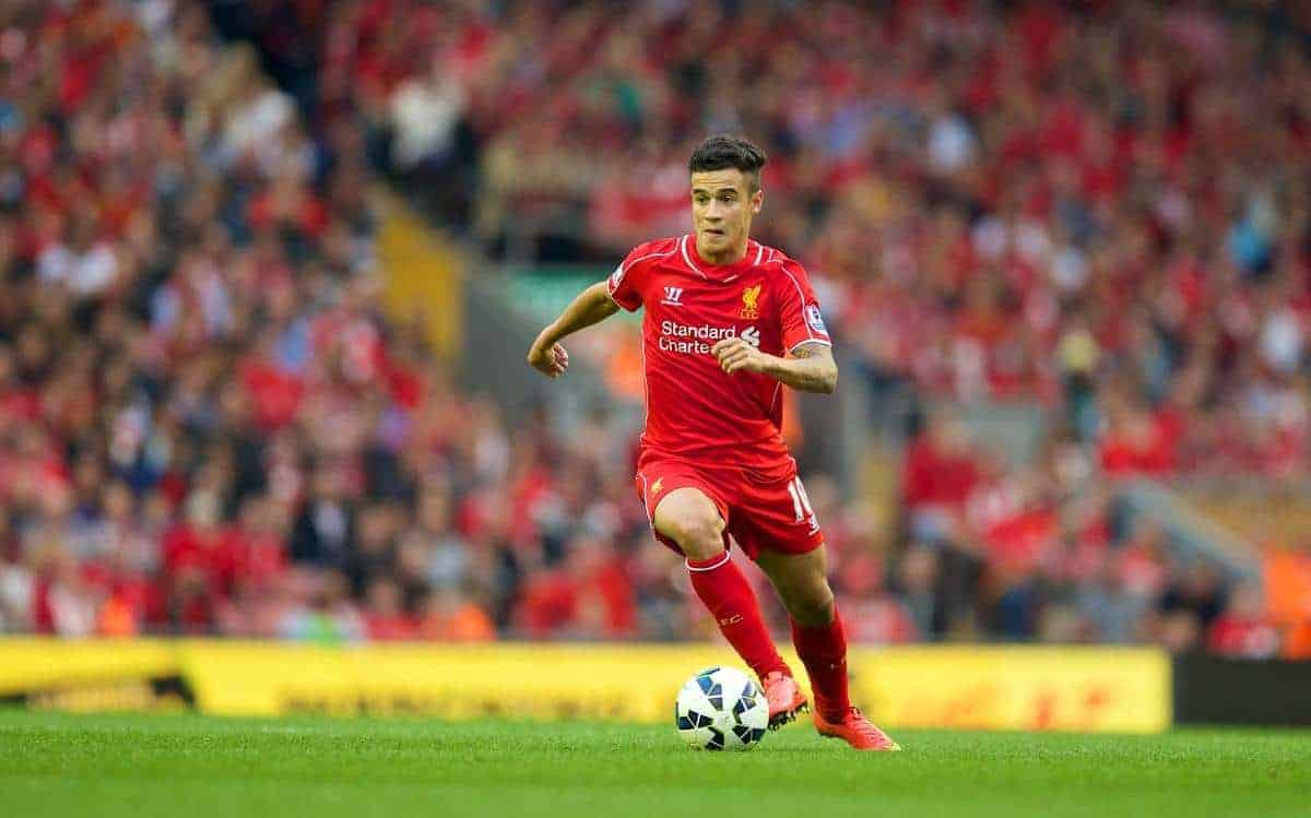 LIVERPOOL, ENGLAND - Saturday, September 13, 2014: Liverpool's Philippe Coutinho Correia in action against Aston Villa during the Premier League match at Anfield. (Pic by David Rawcliffe/Propaganda)