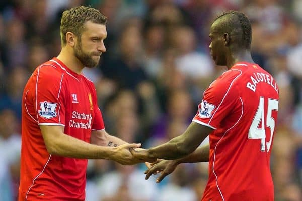 LIVERPOOL, ENGLAND - Saturday, September 13, 2014: Liverpool's Mario Balotelli is substituted for Rickie Lambert against Aston Villa during the Premier League match at Anfield. (Pic by David Rawcliffe/Propaganda)